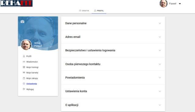 Podgląd panelu klienta w aplikacji 'Fitssey'